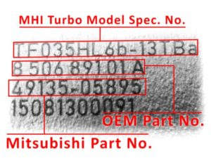 Numer turbo Mitsubishi IHI
